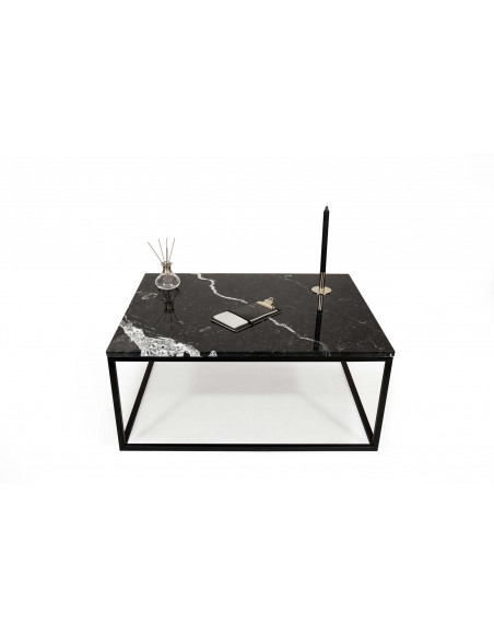 Stolik kawowy Blacky z blatem marmurowym Nero Marquina Fashion-Home