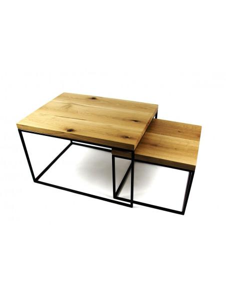 Komplet stolików kawowych NEST, drewno lite, dąb europejski Fashion-Home