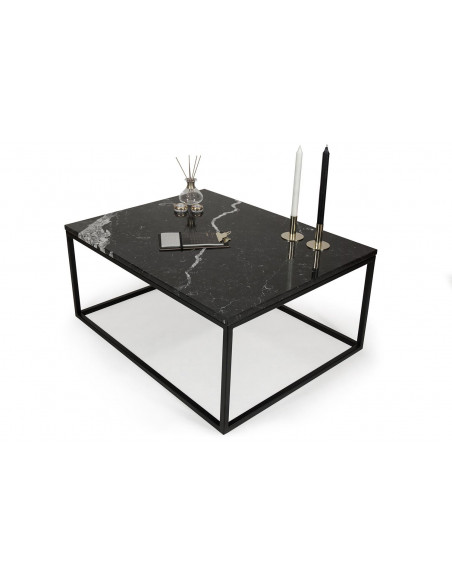 Coffee table BLACKY natural marble top Nero Marquina