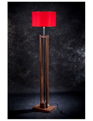 Lampa podłogowa stojąca TOWER BRĄZ abażur czerwony loft Fashion-Home
