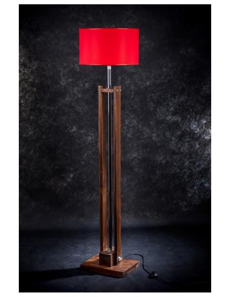 Lampa podłogowa TOWER Brązowa, abażur czerwony, wys. 170 cm
