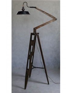 Standing lamp CLEO, wooden tripod, max height 240 cm