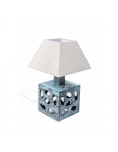 Lampka nocna CUBO przetarta mięta ceramika len 51 cm - Fashion-Home