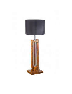 Lampa stojąca TOWER SMALL BRĄZ przecierana abażur czarny - FH