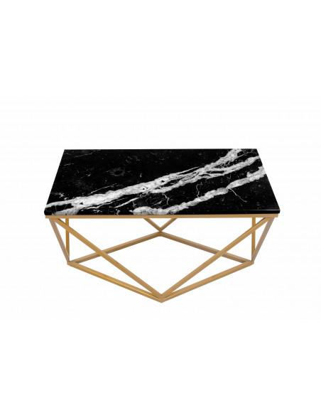 Stolik kawowy Diament prostokąt z blatem marmurowym Fashion-Home