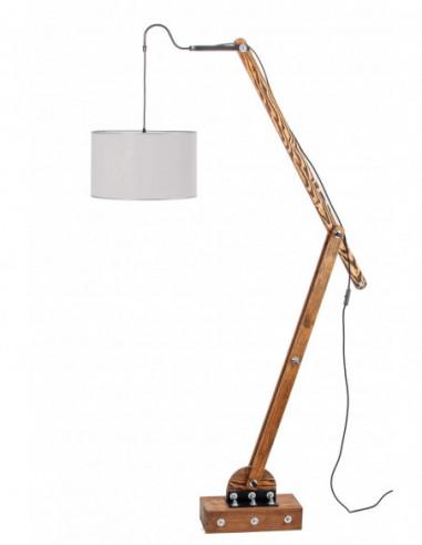 Lampa podłogowa / loftowa / WOODEN GRU ABAŻUR SZARY Fashion-Home