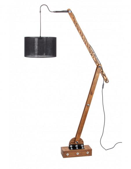 Lampa podłogowa / loftowa / WOODEN GRU ABAŻUR CZARNY Fashion-Home
