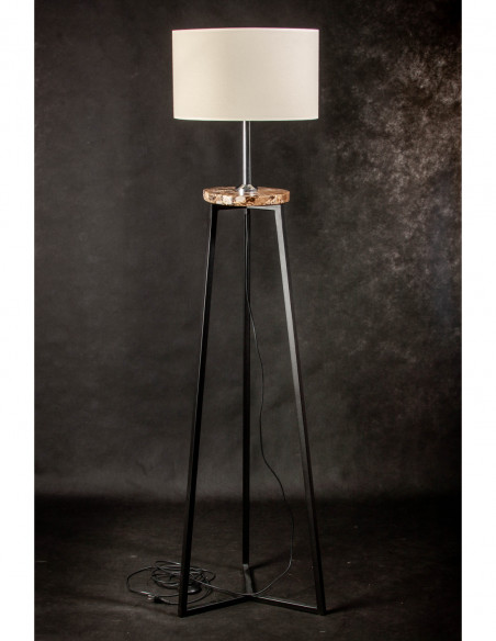 Lampa stojąca FLORA  ABAŻUR ECRU/MARMUR EMPERADOR  DARK Fashion-Home