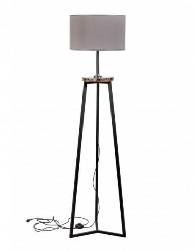 Lampa stojąca FLORA  ABAŻUR SZARY/MARMUR EMPERADOR DARK Fashion-Home