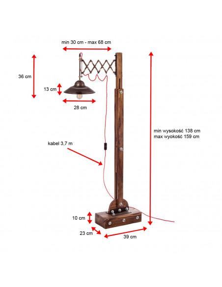 Industrial floor lamp WOODEN GRU wood, steel - FH dimensioning