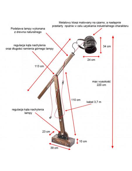 Lampa podłogowa / stojąca / WOODEN GRU REFLEKTOR Fashion-Home