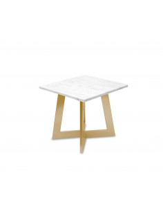 Modern coffee table AMAND S natural marble top color BIANCO