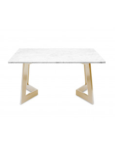 Modern coffee table AMAND L natural marble top color BIANCO