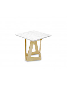 Design coffee table DAMON S natural marble top color BIANCO