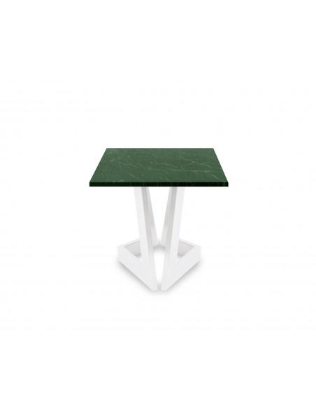 Designerski stolik kawowy Damon S z blatem marmurowym Verde