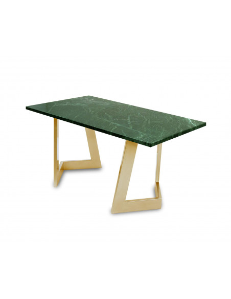 Design coffee table DAMON L natural marble top color VERDE