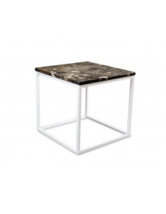 Coffee table QUBE S natural marble top color EMPERADOR