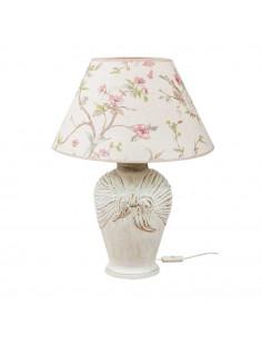 Lampka nocna ARCOR abażur ptaki podstawa złota-biała - Fashion-Home