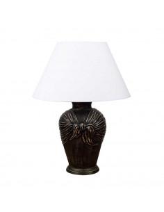 Lampka nocna ARCOR abażur biały shabby chick czarna - Fashion-Home