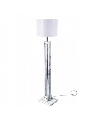 Lampa podłogowa TOWER BIAŁA przecierana abażur biały - Fashion-Home