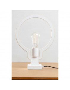 Lampka nocna biurkowa BULB 1 sklejka kolor biały - Fashion-Home