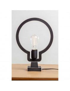 Lampka nocna biurkowa BULB 1 sklejka kolor czarny - Fashion-Home