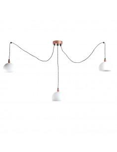 Lampa wisząca pająk FASHION 3LP BIAŁY-MIEDŹ kula styl nowoczesny - FH