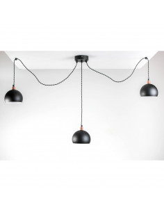 Lampa wisząca pająk FASHION 3LP CZARNY-CZARNY kula styl modern - FH(1)