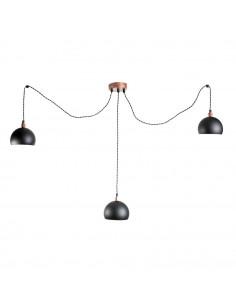 Lampa wisząca pająk FASHION 3LP CZARNY-MIEDŹ kula  styl modern - FH