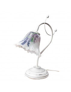 Bedside table FLEUR italian glass hand decorated