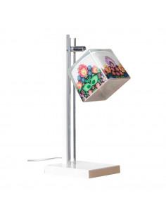 Lampka biurkowa FOLK A BIAŁY-CHROM klosz 10x10 ręczna dekoracja - FH