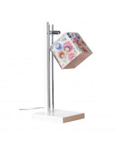 Lampka biurkowa FOLK B BIAŁY-CHROM klosz 12x12 ręczna dekoracja - FH