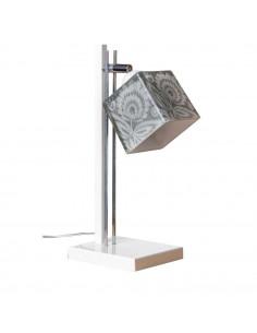 Lampka biurkowa FOLK C BIAŁY-CHROM klosz 10x10 ręczna dekoracja - FH