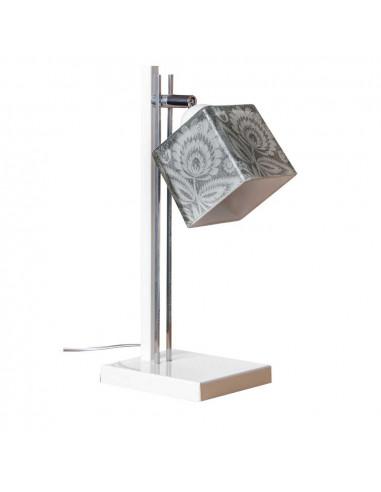 Lampka biurkowa / stołowa / FOLK C BIAŁY/CHROM - klosz ręczna dekoracja Fashion-Home