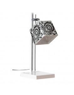 Lampka biurkowa FOLK D BIAŁY-CHROM klosz 10x10 ręczna dekoracja - FH