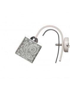 Kinkiet FOLK C BIAŁY-CHROM klosz 10x10 szkło włoskie ręczny dekor - FH
