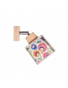 Kinkiet FOLK 1B-DREWNO WOSKOWANE klosz 10x10 ręczna dekoracja - FH