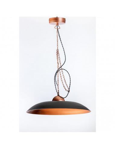 Wybitny Lampa wisząca industrialna PLATER 44 czarna/miedź loft | Fashion-Home NS66
