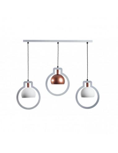 Lampa wisząca nowoczesna JULY 3L biały-miedź sklejka-metal -FH