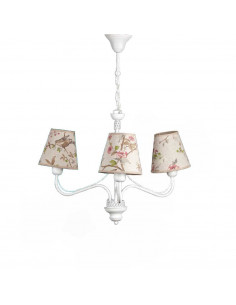 Provencal chandelier GIULIA 3 White ECRU | Lampshade with birds theme
