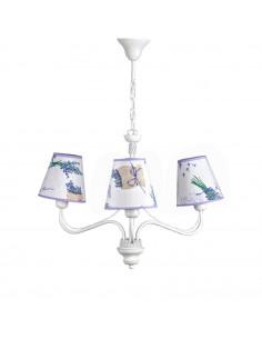 Żyrandol prowansalski GIULIA 3 biały abażur motyw lawendy - FH