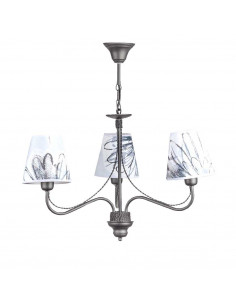 Provencal chandelier GIULIA 3 Graphite | Lampshade with graffiti theme