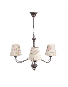 Provencal chandelier GIULIA 3 WENGE | Lampshade ECRU with BIRDS theme