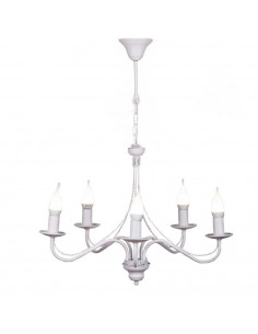 Żyrandol prowansalski GIULIA 5 biały bez abażuru - Fashion-Home
