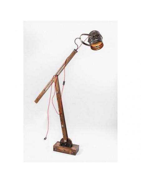 Lampa podłogowa industrialna WOODEN GRU  abażur reflektor - FH(1)