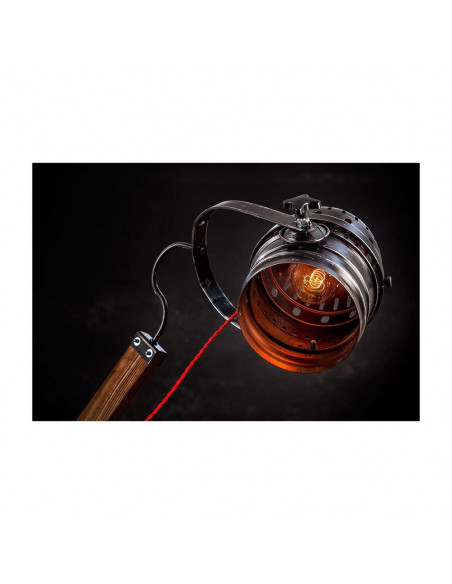 Lampa podłogowa industrialna WOODEN GRU  abażur reflektor - FH(2)