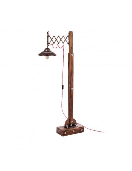 Lampa podłogowa industrialna WOODEN GRU drewno, stal - FH