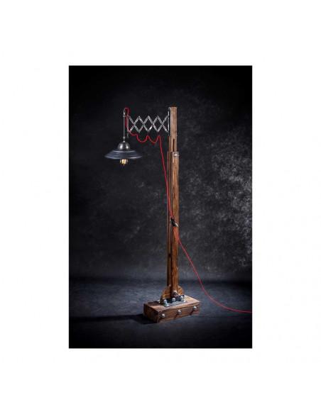 Lampa podłogowa industrialna WOODEN GRU drewno, stal - FH(1)