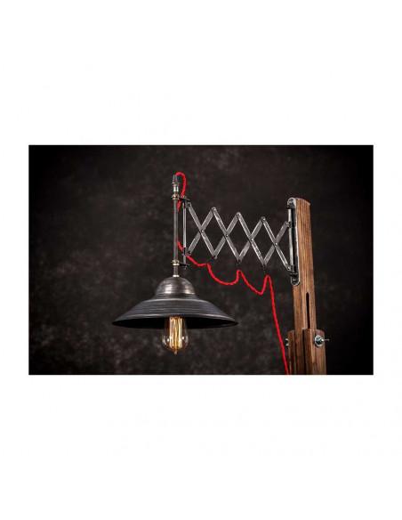 Lampa podłogowa industrialna WOODEN GRU drewno, stal - FH(3)
