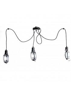 Lampa wisząca typu pająk MECCANICO III srebrny-czarny - Fashion-Home
